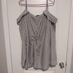 City Chic Striped Collar Top